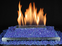 unvented gas fire glass fireplace with blue glass and stainless vent free burner
