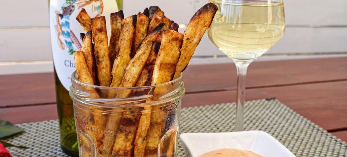 zoete aardappel friet van de bbq