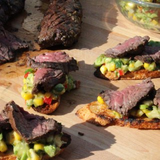 Cilantro Marinated Hanger Steak with Charred Corn and Avocado Salsa