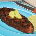 Coffee Rubbed Skirt Steaks with Avocado-Lime Butter