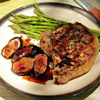 Pork Chops and Grilled Figs with Balsamic Reduction