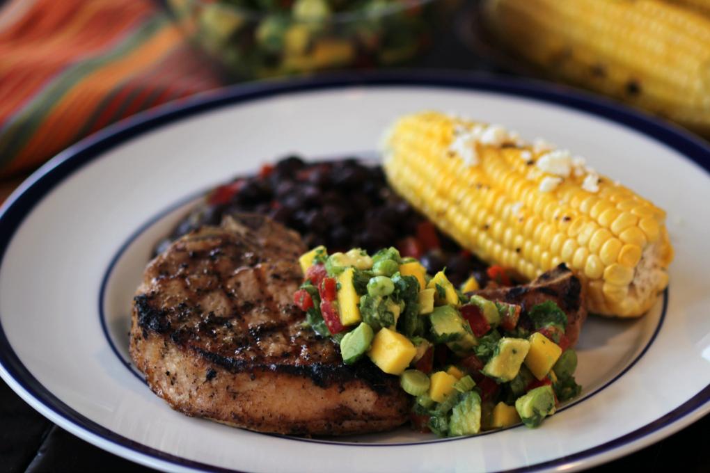 Pork Chops with Mango-Avo Salsa - h
