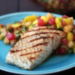 Grilled Salmon with Melon & Mango Salsa Fresca