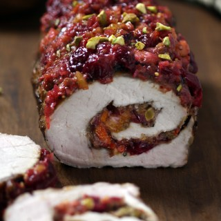 Pork Loin All Rolled Up with Cranberry-Pistachio Chutney