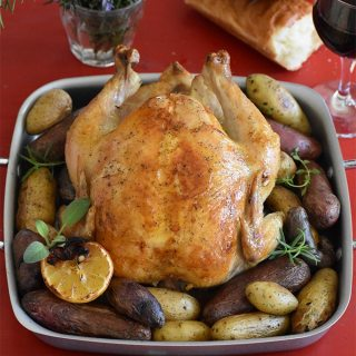 Fire Roasted Whole Chicken with Fingerling Potatoes