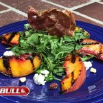 Grilled Peach Salad with Crispy Prosciutto, Feta Cheese and Baby Arugula