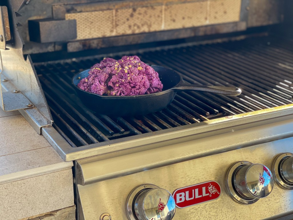 Grilled Purple cauliflower on the Bull Grill