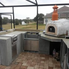Outdoor Kitchen Oven Window Curtains With Wood Fired Pizza