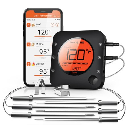 BFOUR Bluetooth Wireless Meat Thermometer, with 6 Temperature Probes, Bluetooth Thermometer for Grill, Smoker, Oven, Cooking and BBQ