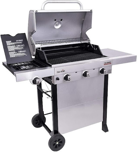 3-Burner Cart Style Gas Grill, Stainless Steel