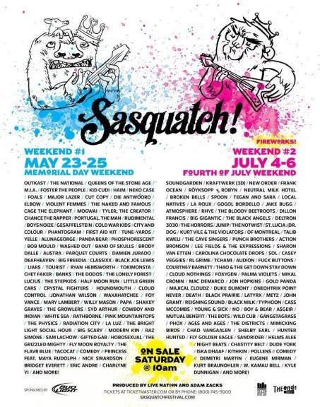 sasquatch 2014 line up poster