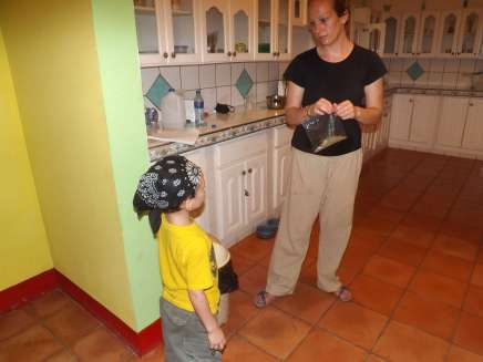 Mother and Son Talking in Kitchen