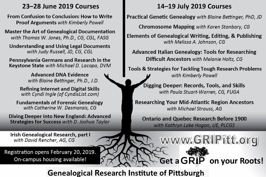 GRIP 2019 Schedule Revised   Genealogical Research Institute