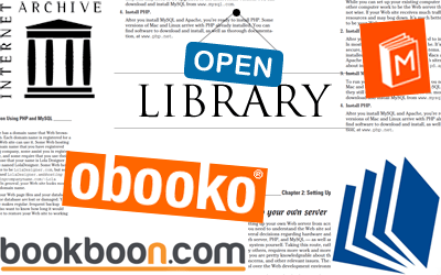 A glimpse of some free eBook websites.