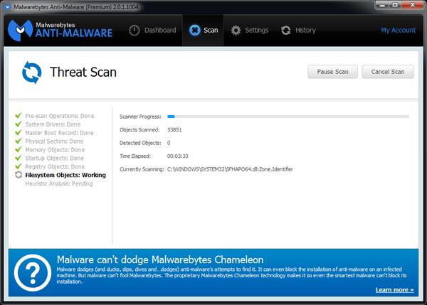 Malwarebytes running a scan.
