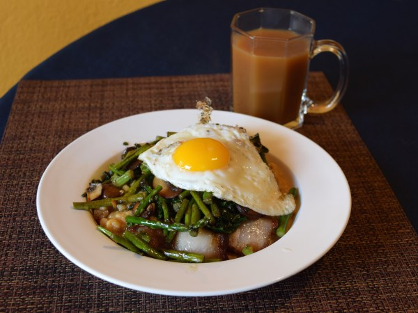 Miso polenta works great with all sorts of toppings - here it is with asparagus, mushrooms, kale, fried egg and left over char siu.