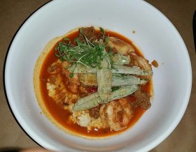Shrimp Grits topped with fried okra