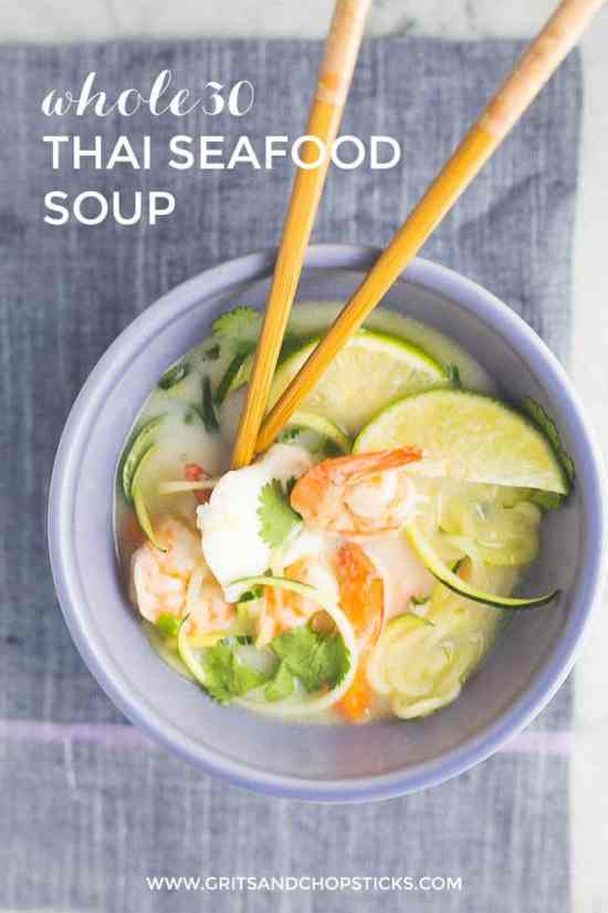 Whole30 thai seafood coconut soup grits chopsticks for Thai fish soup