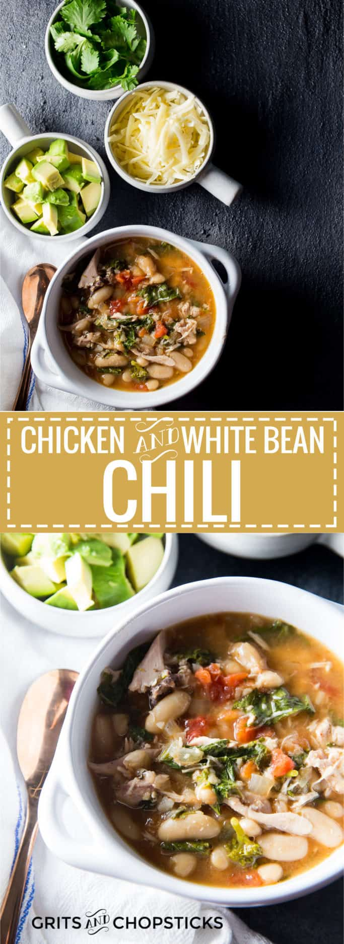 This recipe for slow cooker chicken and white bean chili with cannelini beans, tomatoes and broccoli rabe is a great comfort dinner meal for winter!