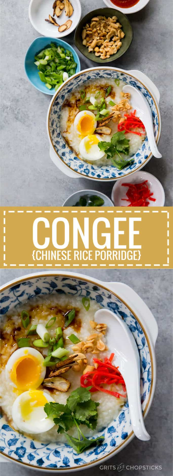 Congee, or Chinese rice porridge, is a simple, hearty meal that can have lots of variety in its toppings