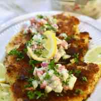 Parmesan Chicken with Cucumber Salsa