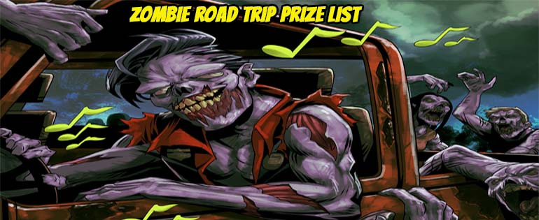 Zombie Road Trip Audiobook Giveaway Prize List!