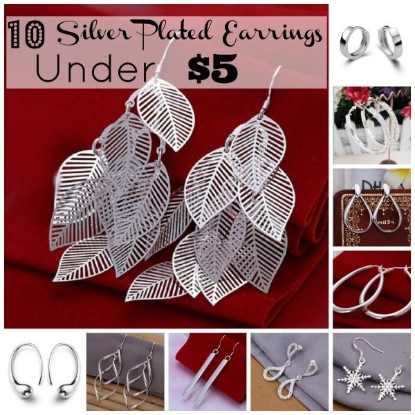 10 silver plated earrings under $5
