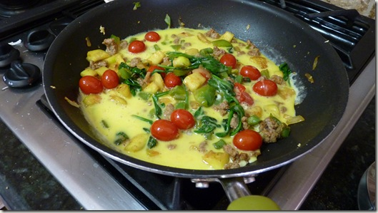Hearty Vegetable and Turkey Sausage Frittata (Turned Omelet)!