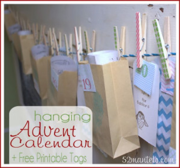 "This week's ""Making A Merry Christmas"" craft - Hanging Advent Calendar + :fr: Printable Tags! Making A Merry Christmas: Hanging Advent Calendar + FREE Printable Tags! I placed my advent calendar across a large door-turned-chalkboard in my kitchen. It's the perfect spot for adding Christmas cheer, but well out of reach of tiny hands. Momma gets to control the advent calendar!"