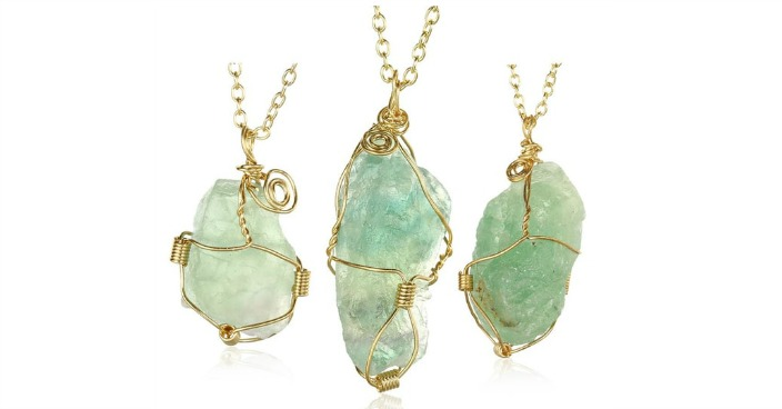 Abstract Green GemChlorophane Stone Necklace Just $8.99! Down From $200! Ships FREE!