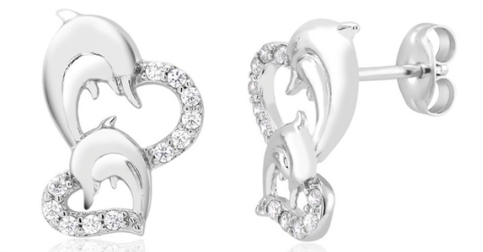 CZ Heart & Dolphin Stud Earrings Just $5.99! Down From $70! Ships FREE!