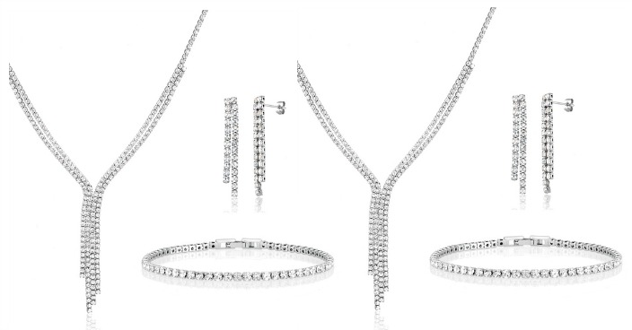 CZ White Gold Plated 3-Piece Jewelry Set Just $9.99! Down From $200! Ships FREE!