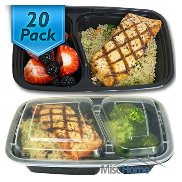 20 Pack 2 Compartment Meal Prep Containers Just $17.99! Down From $27!
