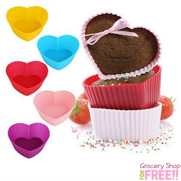 12pk Heart Shaped Silicone Nonstick Heat Resistant Reusable Cupcake Liners for just $5.04!