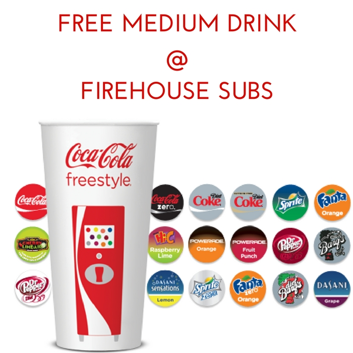 FREE Medium Drink With Purchase At Firehouse Subs! Until May 6!