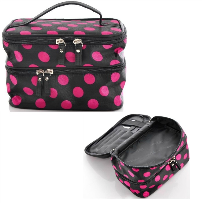 Black And Pink Polka Dot Double Layer Cosmetic Bag $3.45 PLUS FREE Shipping!