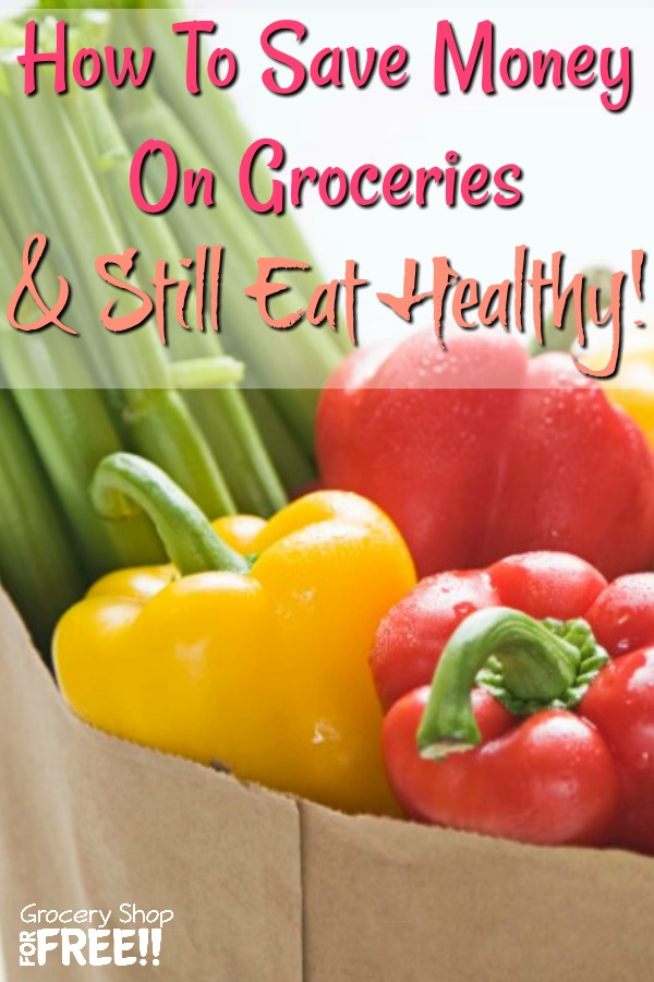 """""""I can't use coupons, they're all for unhealthy food.""""  I have heard that a hundred times over the years and I think it's just an excuse.  You CAN save money on groceries and still eat healthy.  This post will show you How To Save Money On Groceries And Still Eat Healthy!"""