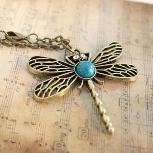 Retro Hollow Out Inlaid With Turquoise Dragonfly Necklace Only $2.62 Shipped!