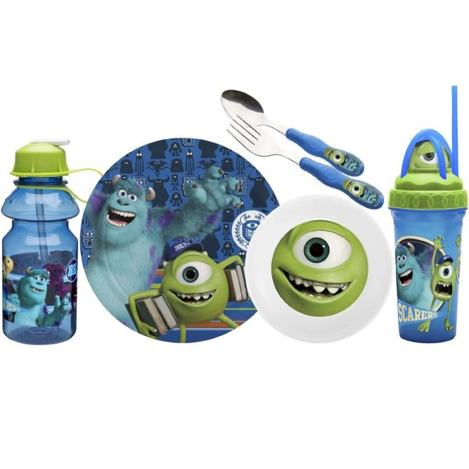 Zak! Designs Mealtime Set, Plate, Bowl, Tumbler, Water Bottle, Fork & Spoon with Monsters University Graphics Only $13.87!