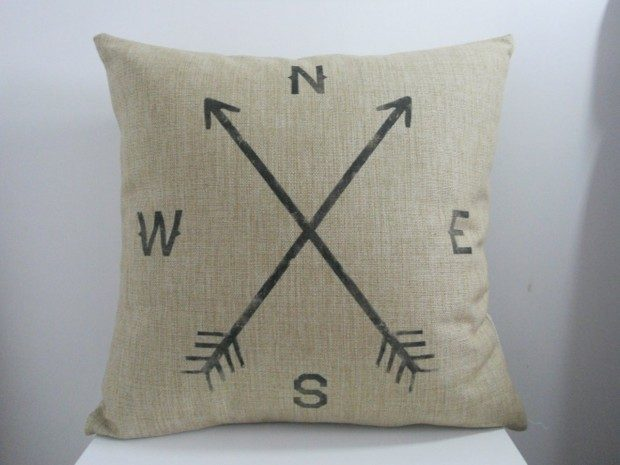 Compass Pillow Cover Just $2.90 + FREE Shipping!