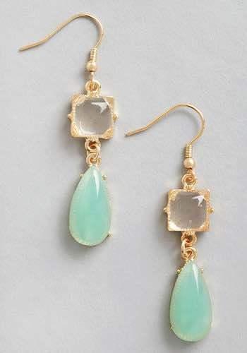 Droplets of Dew Earrings in Mint Only $9.99!