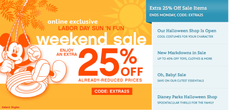 Save An Additional 25% OFF At The Disney Store (Includes Sale Items)!
