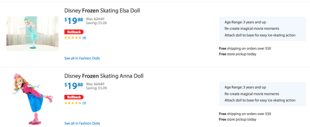 Disney Frozen Skating Elsa & Anna Dolls ONLY $19.88 + FREE Store Pick Up (Reg. $24.97)!