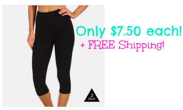 2-Pack Black Cotton Capri Leggings Only $14.99 + FREE Shipping (only = $7.50 each)!