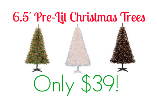6.5' Pre-Lit Christmas Trees Only $39 + FREE Store Pick Up!