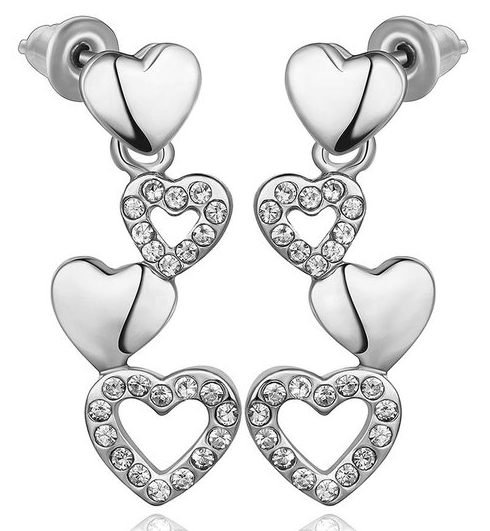 18K White Gold Quad Hearts Drop Down Earrings Made With Swarovksi Elements Only $7.99! Down From $199.99! Ships FREE!