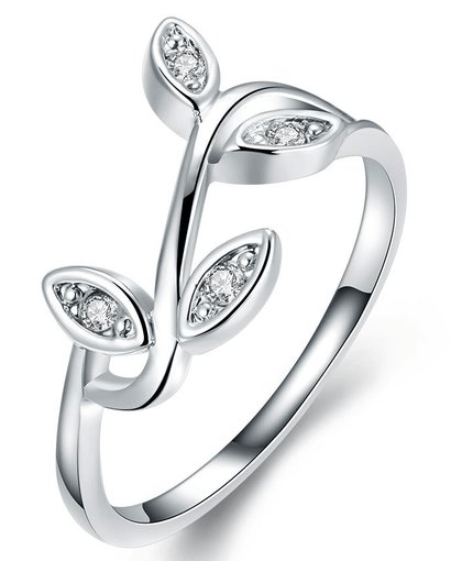 White Gold Plated Olive Tree Branch Ring Just $5.99! Down From $99.99! Ships FREE!