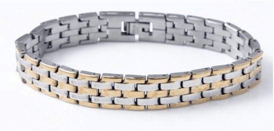 Handsome Stainless Steel Men's Link TwoTone Bracelet Just $8.49 Down From $69.99! Ships FREE!