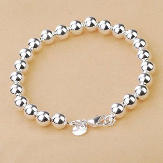 Sterling Silver Beads Chain Bracelet Just $3.45 + FREE Shipping!