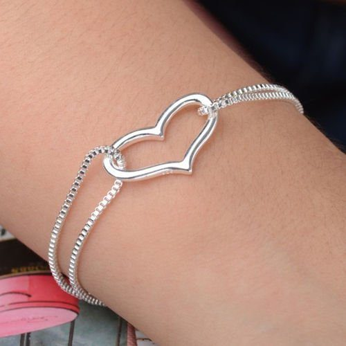 Sterling Silver Heart Bracelet Just $2.77 + FREE Shipping!